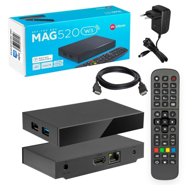 MAG 520w3 IPTV Set Top Box mit 4K support Linux Wi-Fi integrated