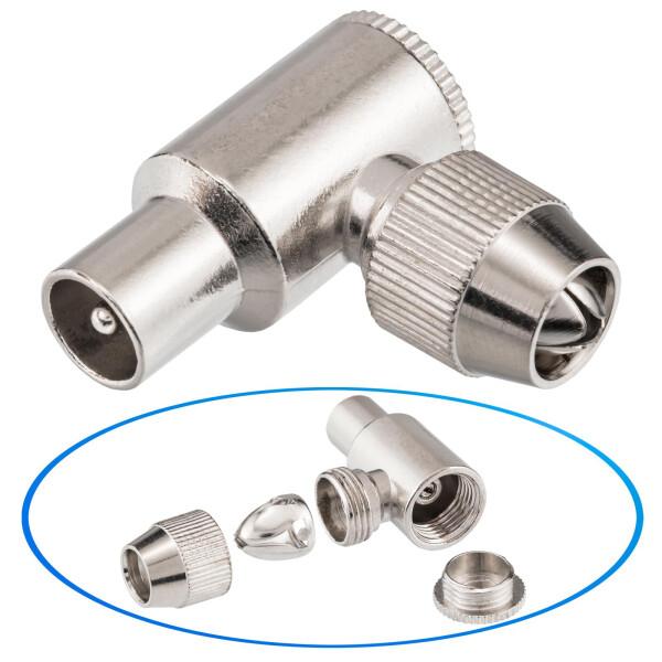 IEC- Stecker Winkel Stecker, Schraubanschluß, Metall