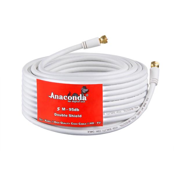 5m - 50m Anaconda SAT Anschluss Kabel 95dB 2-Fach geschirmt mit vergoldeten Kontakten Stahl Kupfer WEISS Länge wählbar