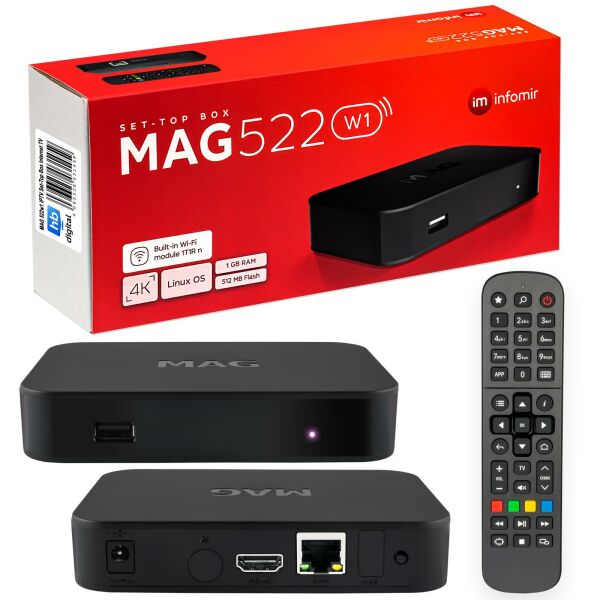 MAG 522w1 IPTV Set Top Box with 4K and HEVC H 265 support Linux Wi-Fi Integrated