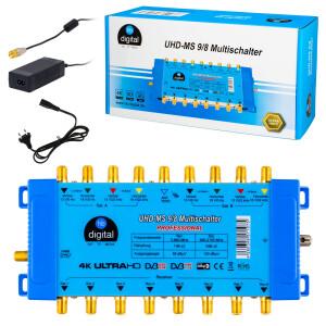 SET Satellitenschüssel Fuba 85 cm Aluminium ANTHRAZIT + Multischalter MS 9/8 + 2 x LNB Quattro hb-digital UHD 414 + F-Stecker