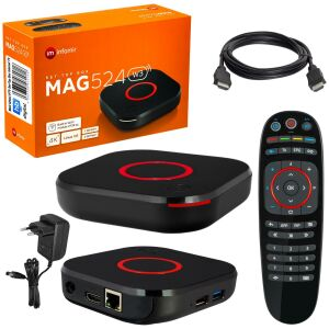 MAG 524w3 IPTV Set Top Box with 4K and HEVC H 265 support Linux Wi-Fi integrated