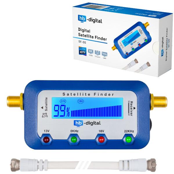 Satfinder Digital hb-digital SF-55 mit LCD Display BLAU