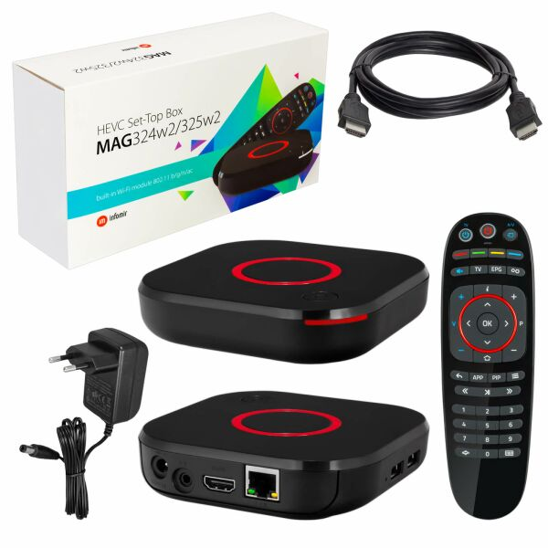 MAG-324W2 Micro IPTV HEVC Set Top Box Internet TV