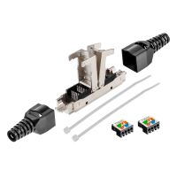 Network cable connector LSA connection LAN cable connector CAT 6a with bend relief, tool-free