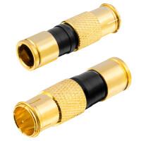 Kompression F-Quikstecker für Koaxkabel Ø 6,8 - 7,4 mm vergoldet