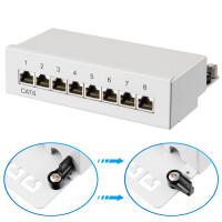 Patchpanel / Patchfeld 8-Port CAT.6 hb-digital für Netzwerkkabel LAN Verlegekabel, STP HELLGRAU