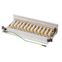 Patchpanel / Patchfeld 12-Port CAT.6 hb-digital für Netzwerkkabel LAN Verlegekabel, STP HELLGRAU