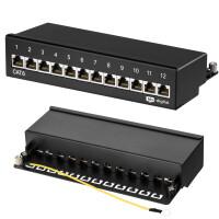 Patchpanel / Patchfeld 12-Port CAT.6 hb-digital für Netzwerkkabel LAN Verlegekabel, STP SCHWARZ