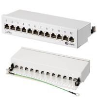 Patchpanel / Patchfeld 12-Port CAT.6a hb-digital für Netzwerkkabel LAN Verlegekabel, STP HELLGRAU