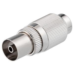 IEC-Buchse für Koaxkabel Ø 6,8 - 7,2 mm Schraubanschluß, Metallgehäuse