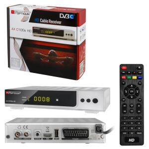 """Rückläufer RED Opticum AX C100s HD DVB-C Kabel Receiver """"SILBER"""" mit PVR"""
