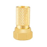 F-Stecker 7mm mit Gummidichtung für Koaxialkabel vergoldet