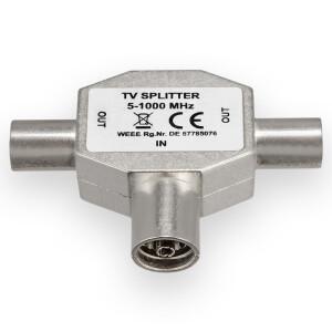TV Splitter T-Piece Switch 2 Device Splitter Metal Housing Coaxial Clutch 4K