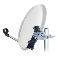 SET Satellitenschüssel hb-digital 40cm Stahl HELLGRAU + LNB Single + Receiver mit HDMI Kabel + 10m Koaxialkabel + F-Stecker + Gummitülle
