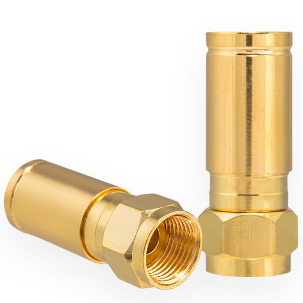 Kompression F-Stecker für Koaxkabel Ø 6,8 - 7,2 mm vergoldet
