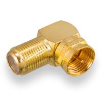 F-Winkeladapter - F-Stecker / F-Buchse vergoldet