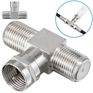 T-Stück Adapter 1x F-Stecker auf 2x f-Kupplungen silber