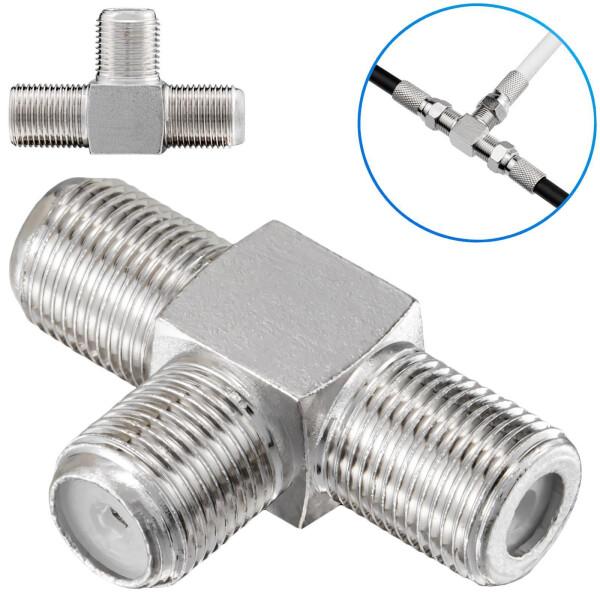 T-Stück Adapter 1x F-Kupplung auf 2x f-Kupplungen silber