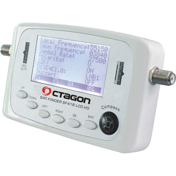 Digital Hd Satfinder octagon Sf 418 LCD Display & Compass HDTV 3D with Adapter