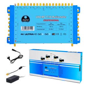 Multischalter SAT hb-digital UHD-MS 17/16 bis zu 16...