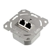 Network socket CAT 6 RJ45 2-fold for CAT 8.1 / CAT 7a / CAT 7 / CAT 6a / CAT 6 / CAT 5e installation cable, surface / flush-mounted