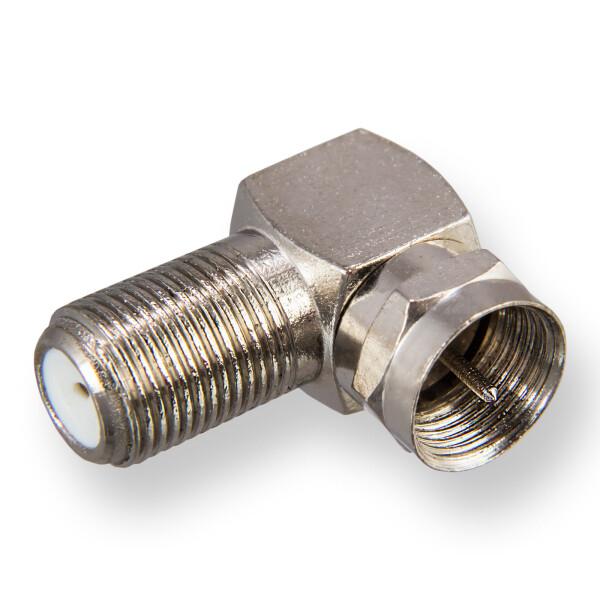 F-Winkeladapter - F-Stecker / F-Buchse vernickelt