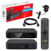 Rückläufer MAG 420w1 IPTV Set Top Box mit 4K und HEVC H 265 Unterstützung Linux WLAN integriert