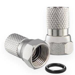 F-Stecker 7mm mit Gummidichtung für Koaxialkabel...