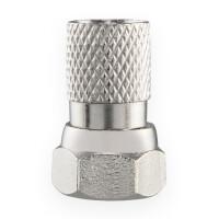F-Stecker 7mm mit Gummidichtung für Koaxialkabel vernickelt