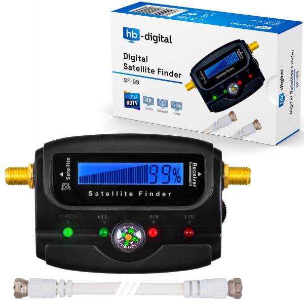 Satfinder Digital hb-digital SF-99 mit LCD Display eingebauter Kompass und Ton SCHWARZ