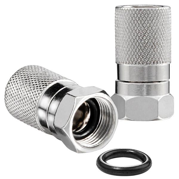 F-Stecker 8,2mm mit Gummidichtung für Koaxialkabel vernickelt