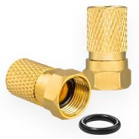 F-Stecker 8,2mm mit Gummidichtung für Koaxialkabel vergoldet
