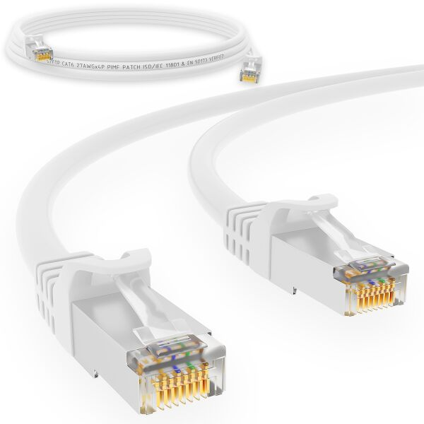0,25 m RJ45 Patchkabel CAT 6 250 MHz S/FTP LAN Kabel PVC Weiß