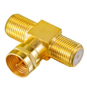 T-Stück Adapter 1x F-Stecker auf 2x f-Kupplungen vergoldet