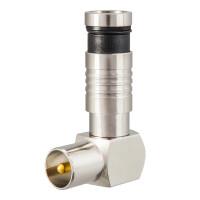 Kompression IEC-Winkelstecker für Koaxkabel Ø 6,8 - 7,2 mm vernickelt