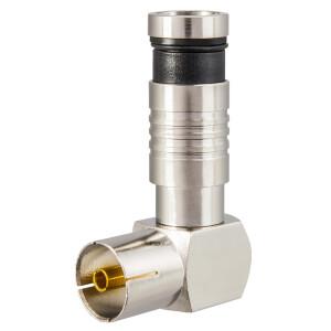 Kompression IEC-Winkelbuchse für Koaxkabel Ø 6,8 - 7,2 mm vernickelt