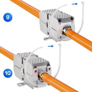 Netzwerkkabel Verbinder LSA Anschluss LAN Kabel Verbinder CAT 6a werkzeuglos SILBER