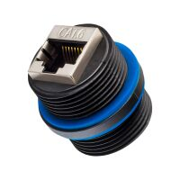 LAN Cable Connector RJ45 Socket for CAT 6 IP67 Outdoor BLACK