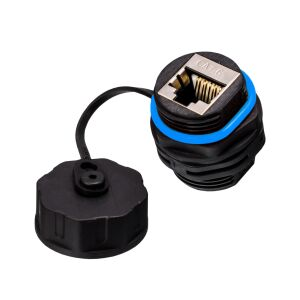 LAN Cable Connector RJ45 Socket for CAT 6 IP68 Outdoor BLACK