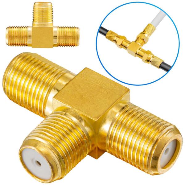 T-Stück Adapter 1x F-Kupplung auf 2x f-Kupplungen vergoldet